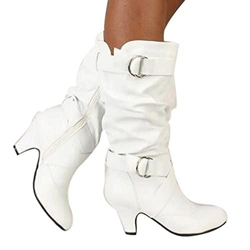 Damenstiefel Vintage Slip-On Stiefel mit Mittlerer Wade Anti-Rutsch-Lederstiefel Reitstiefel Low Heel Schnürstiefel...