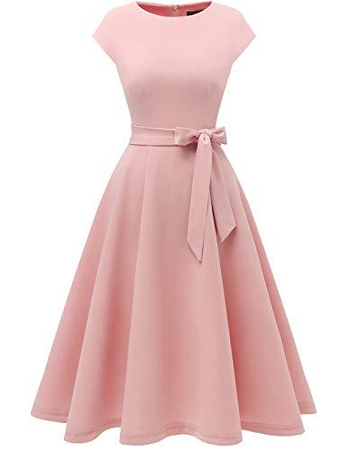 DRESSTELLS Midi 1950er Vintage Retro Rockabilly Kleid Damen elegant Hochzeit Cocktailkleid Blush XS
