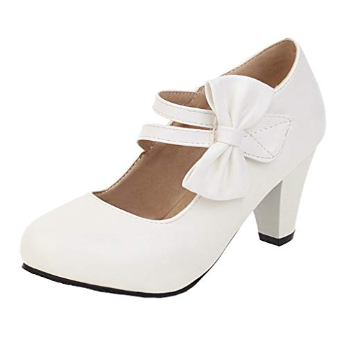 Femany Blockabsatz Pumps mit Riemchen und Schleife Mary Jane Damenschuhe High Heels Rockabilly (Weiß,40)