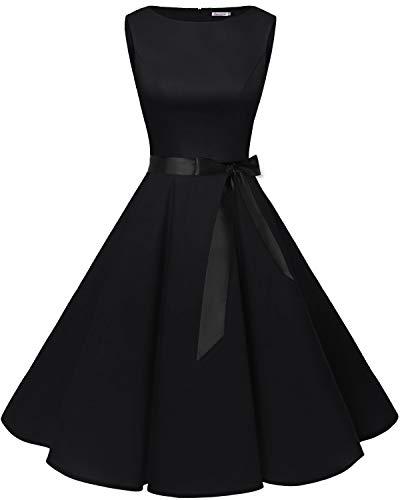 Bbonlinedress 50s Retro Schwingen Vintage Rockabilly Kleid Cocktail Faltenrock Black L