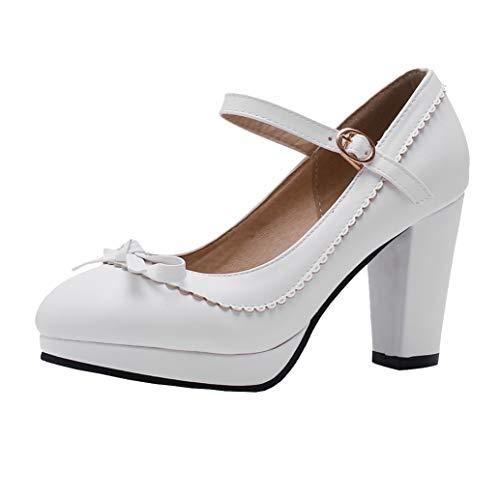 Blockabsatz High Heels Pumps mit Plateau und Riemchen Mary Jane Damenschuhe Rockabilly Cosplay Lolita Schuhe (Weiß,38)