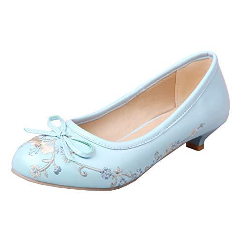 MISSUIT Damen Kitten Heels Pumps Kleiner Absatz Rockabilly Round Toe Schuhe mit Schleife und Stickerei Blumen(Blau,40)