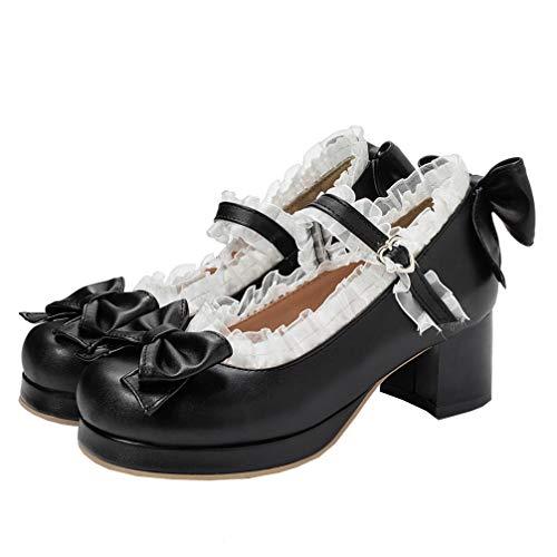 Mary Jane Damenschuhe Pumps mit Blockabsatz und Riemchen 5cm Absatz Rockabilly Schuhe(Schwarz,39)