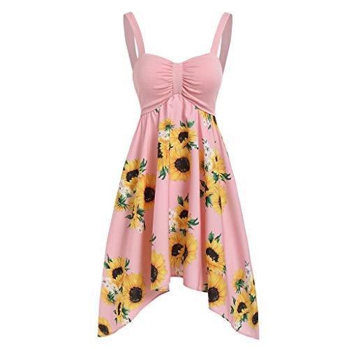 Patifia Damen Kleid, Mode Frauen Frühling Herbst Sunflower Vintage Festlich Printed V-Ausschnitt lässig Camis Backless...