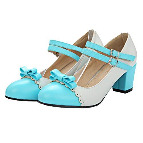 Mary Jane Blockabsatz Pumps mit Riemchen und Schleife Rockabilly Lolita Cosplay Schuhe (Blau,46)