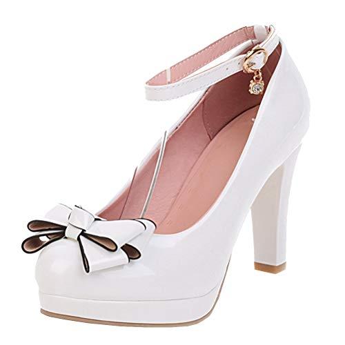 Lack High Heels Pumps mit Knöchelriemchen und Blockabsatz Schleife Rockabilly Lolita Cosplay Schuhe (Weiß,38)