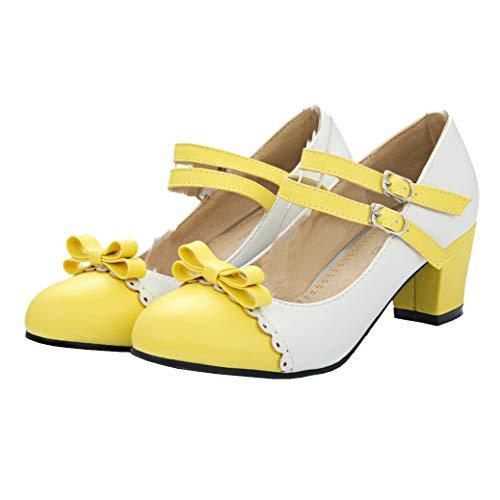 Mary Jane Blockabsatz Pumps mit Riemchen und Schleife Rockabilly Lolita Cosplay Schuhe (Gelb,39)