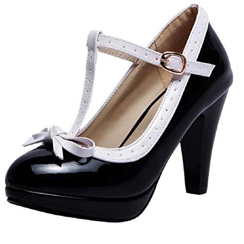 LUXMAX Damen High Heels T Strap Lack Pumps mit Blockabsatz Schleife Rockabilly Schuhe(Schwarz 40)