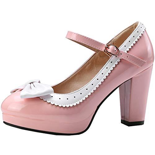 AIMODOR Damen Mary Jane Schuhe Rockabilly High Heels Lolita Plateau Blockabsatz Riemchen Pumps mit Schleife rosa 38