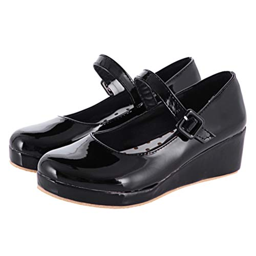 LUXMAX Damen Mary Jane Lack Pumps Keilabsatz mit Riemchen Süße Lolita Rockabilly Schuhe