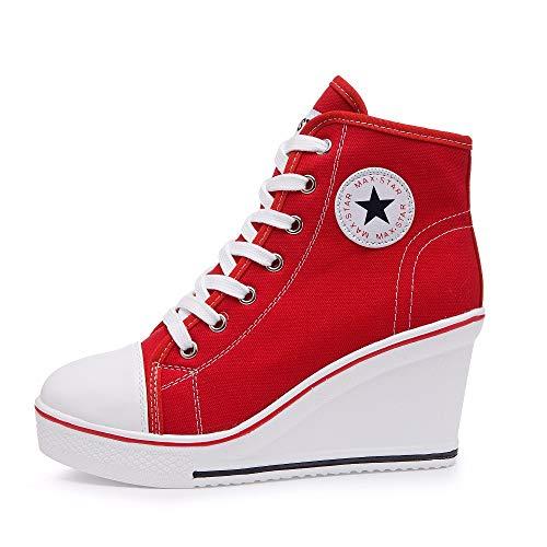 Qimaoo Damen Keilabsatz Schuhe Mädchen Canvas Sneaker Schuhe für Sport Freizeit - EU 39=CN 40(Rot)