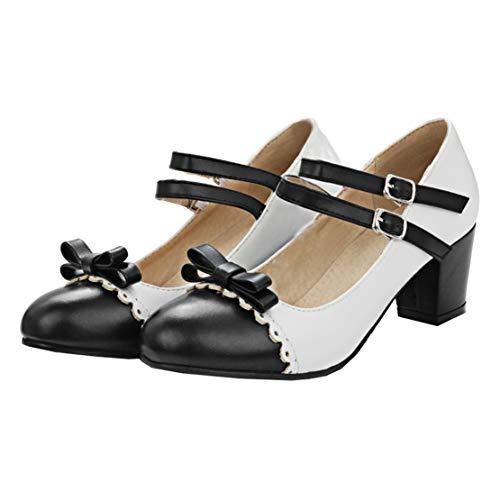 MISSUIT Damen Mary Jane Riemchen Pumps mit Blockabsatz und Schleife Rockabilly Lolita Cosplay Schuhe(Schwarz,39)