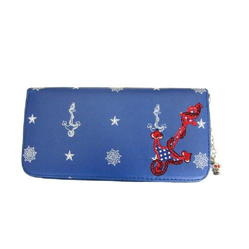Banned Damen Rockabilly XL Geldbörse - Anker Blau Portemonnaie