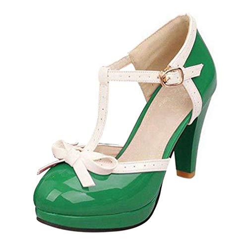 Damen T Spangen High Heels Plateau Pumps mit Blockabsatz Vintage Rockabilly Lolita Cosplay Geschlossen Schuhe(grün,38)