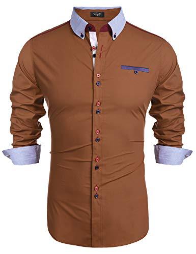 COOFANDY Hemd Herren Langarm Freizeithemd Businesshemd Kentkragen Regular Fit Knopfleiste Einfarbig Hemden für Männer...