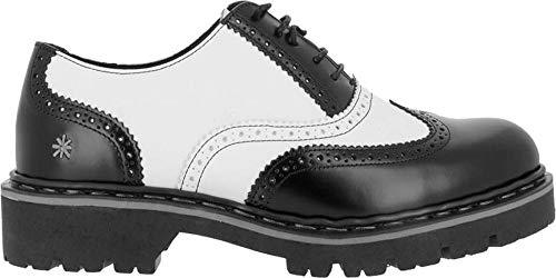 ART Herren Schuhe 1177 Black White Rockabilly Halbschuhe Leder (42 EU, Schwarz)