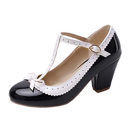 T-spangen High Heels Pumps mit Blockabsatz und Riemchen Lack Rockabilly Cosplay Lolita Schuhe (Schwarz,41)