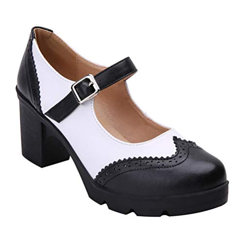 Happyyami Frauen Laniere Pumpe Mary Jane Rockabilly Schuhe Frauen 7CM Ferse Platz Block Ankle Strap Brogues Retro Süße...