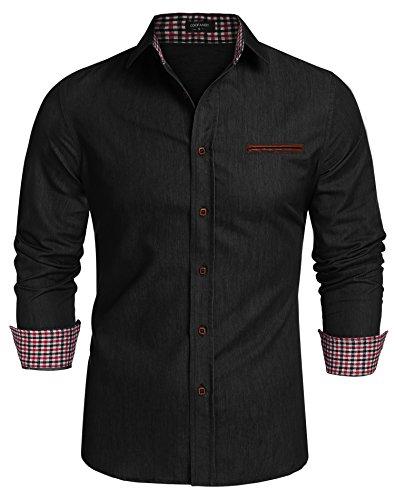 Coofandy Jeanshemden Herren regular fit Denim Shirt Langarmhemd Cowboy-Style Freizeit Hemden , Farbe - Schwarz , Gr. L