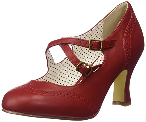 Pinup Couture Damen FLAPPER-35 Pumps, Rot (Red Faux Leather), 37 EU