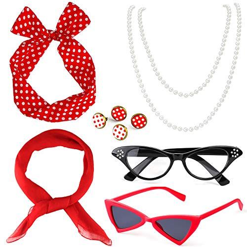 Beelittle 50's Damen Kostüm Accessoires Set Chiffon Schal Polka Dot Bandana Krawatte Stirnband Ohrringe Retro Cat Eye...