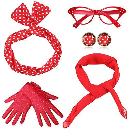 Coucoland 50er Jahre Rockabilly Kostüm Accessoires Damen 1950s Zubehör Set Inklusive Polka Dots Bandana Haarband...
